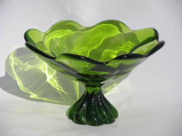 Retro green swirl shape compote bowl, vintage Italian art glass