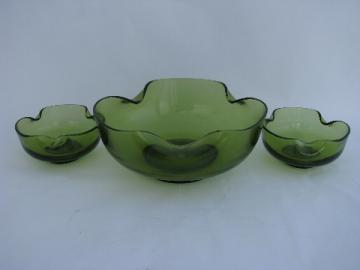 Retro green vintage Anchor Hocking console set, centerpiece bowl, candle holders