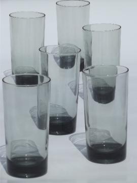 Retro grey smoke glass tumblers, tall bar glasses vintage  smoked glass