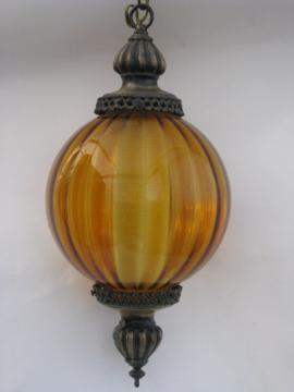 Retro groovy 60s vintage swag lamp, hanging light w/ amber glass globe