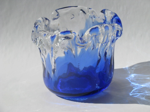Retro Hand Blown Art Glass Bowl Vase Cobalt Blue Crystal Clear Wave