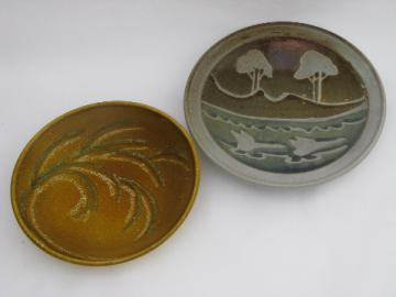 Retro handcrafted stoneware pottery bowls, nature scenes, grass & trees