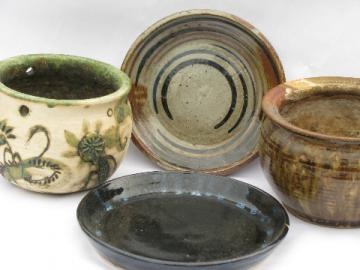 Retro hand-thrown stoneware pottery plates & pots, studio signed