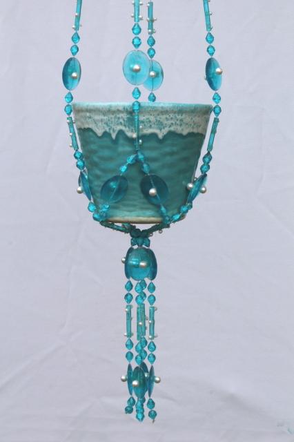 Retro hanging plant pot w/ hippie beads, aqua turquoise blue