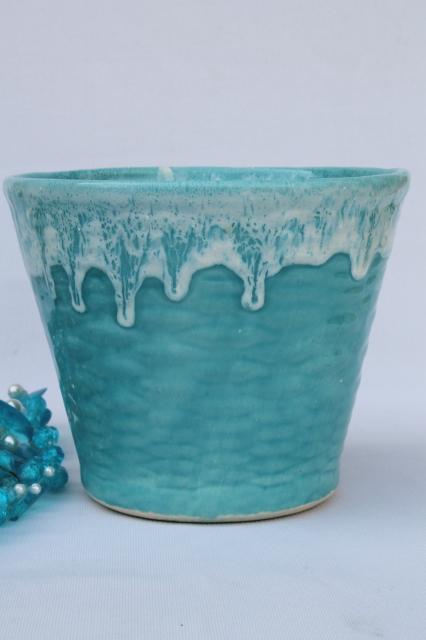 Retro Hanging Plant Pot W Hippie Beads Aqua Turquoise