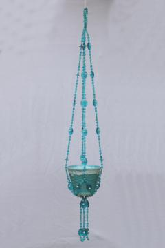 Retro hanging plant pot w/ hippie beads, aqua turquoise blue pottery planter & hanger