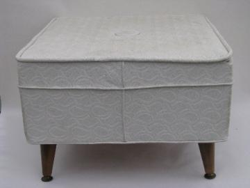 Retro hassock footstool, vintage white vinyl brocade