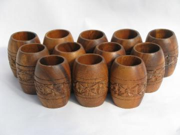Retro Hawaiian / Polynesian island carved wood tumblers, set of 12