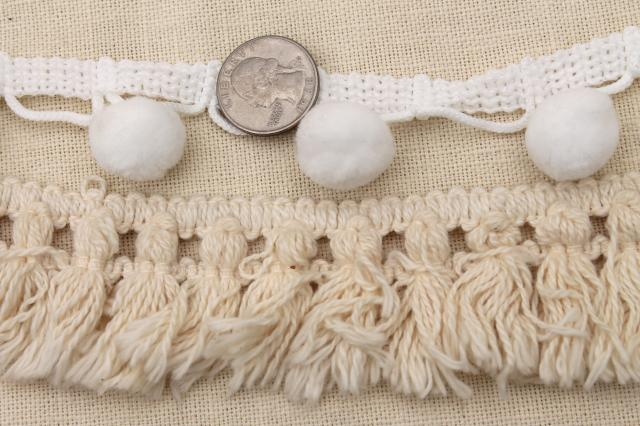 retro hippie boho vintage sewing trim lot, popcorn ball fringe, embroidered braid etc.