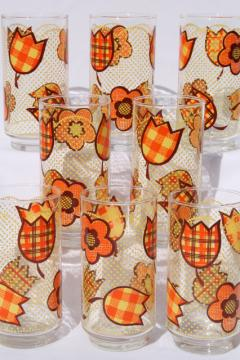 Retro hippie patchwork print drinking glasses, set of 8 vintage Libbey glass tumblers