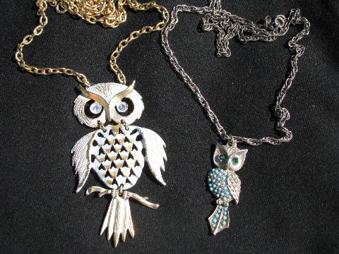 Retro hippie vintage costume jewelry lot 70s owl pendants w long retro hippie vintage costume jewelry lot 70s owl pendants w long chains mozeypictures Images