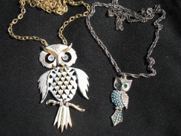 Retro hippie vintage costume jewelry lot, 70s owl pendants w/ long chains
