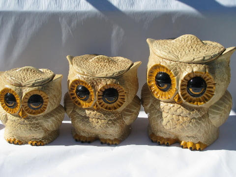 Retro hippie vintage handmade ceramic kitchen canisters, fat big-eyed owls