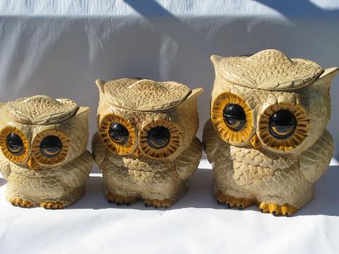 Retro Hippie Vintage Handmade Ceramic Kitchen Canisters Fat Big Eyed Owls