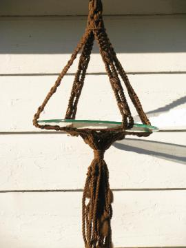 Retro hippie vintage, jute macrame rope hanging table w/ glass tabletop