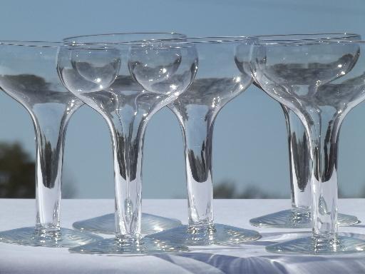 Retro hollow stem champagne glasses vintage libbey stemware bar glass set - Hollow stem champagne glasses ...