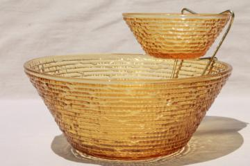 retro honey gold amber glass glass chip & dip bowls set, vintage Soreno Anchor Hocking