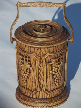 Retro ice bucket for wine, Brentwood plastic carved wood design