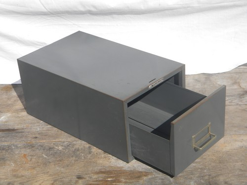 Retro industrial gray  card catalog or file box, machine age vintage