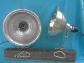 Retro industrial work lights w/aluminum helmet shades for studio loft