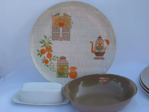 Retro Lenox Ware kitchen print dishes, 60s vintage tan / coral floral melmac