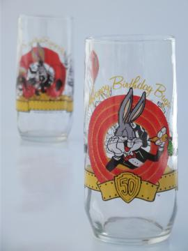 Retro Libbey glasses, 50 years of Bugs Bunny cartoon tumblers