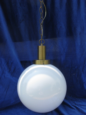 Retro lighting, 60s mod big round ball hanging lamp, vintage ceiling fixure