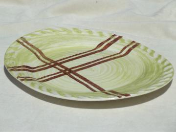 Retro lime green plaid hand-painted pottery platter, mid-century vintage