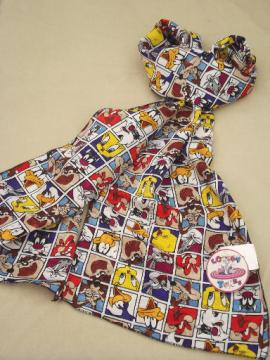 Retro Looney Tunes characters print silky scarf w/ original tag