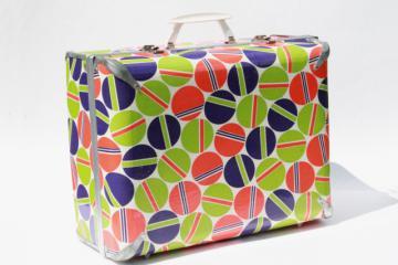 retro luggage, 70s 80s vintage suitcase w/ mod print in purple, orange, green