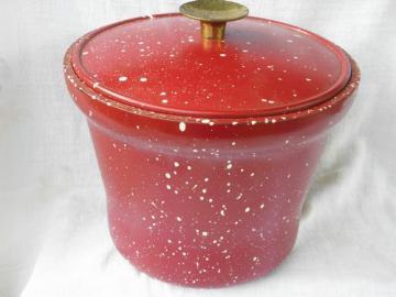 Retro melamine ice bucket, vintage red & white spatterware pattern