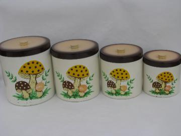 Retro melmac kitchen canisters, 70s vintage mushrooms print pattern