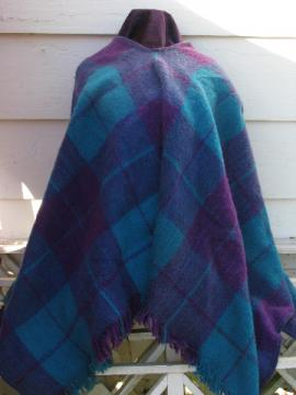 Retro mexican indian blanket poncho, serape stripes, vivid blue & purple!