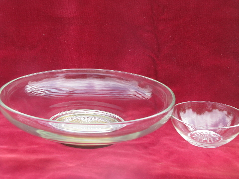 Retro mid-century brass & glass chip n dip set, glass salad bowl, small sauce bowl
