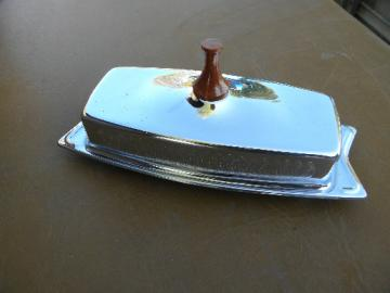 Retro mid-century mod chrome butter dish, vintage Hellerware label