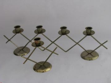 Retro mid-century Scandinavian modern expanded metal candle holders, vintage Sweden