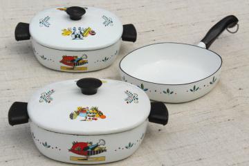 retro mid-century vintage enamel pans w/ mod fruit bowl design, Berggren or Briard