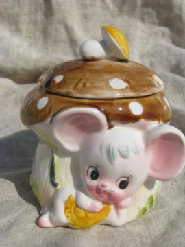 Retro Missy Mouse mustard pot jar, vintage Enesco Japan ceramic