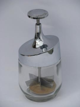 Retro mod 50s vintage chrome & glass kitchen hand chopper jar