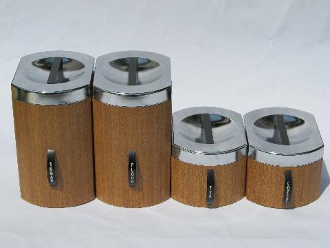 Retro mod 60s wood grain vintage kromex metal kitchen for 60s kitchen set