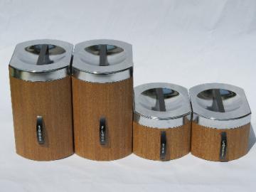 Retro mod 60s wood grain vintage Kromex metal kitchen canisters set