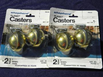 Retro mod  brass outsized planet casters/wheels vintage replacement parts lot