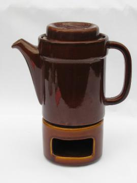 Retro mod butterscotch brown Pfaltzgraff compatibles coffee pot & candle warmer
