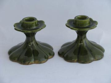 Retro mod California studio pottery candlesticks, artist signed candle holders