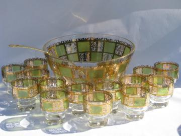 Retro mod Culver green & gold punch bowl & cups set, gold ladle