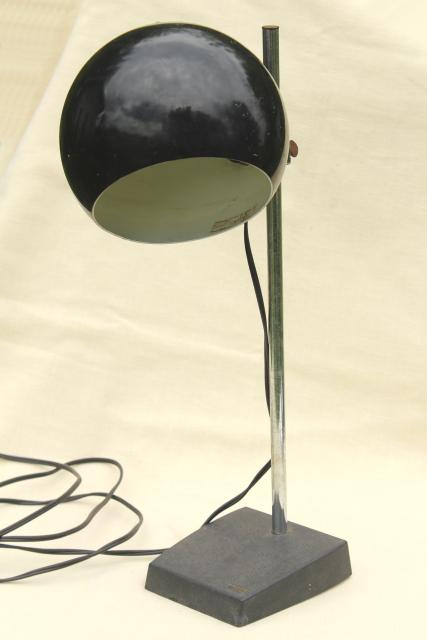retro mod eyeball light 60s - 70s vintage Tensor adjustable desk lamp w/ ball shade