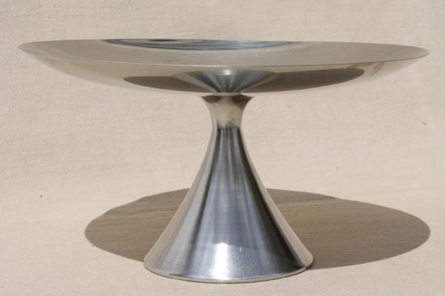 retro mod vintage Danish modern style stainless steel pedestal plate or cake stand & retro mod vintage Danish modern style stainless steel pedestal plate ...