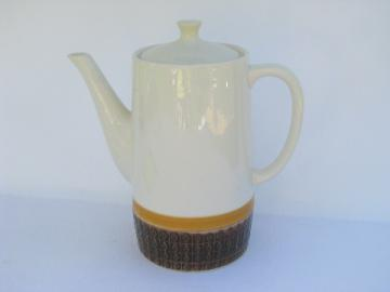 Retro mod vintage Japan china coffee pot, Atura sepia brown diamond pattern