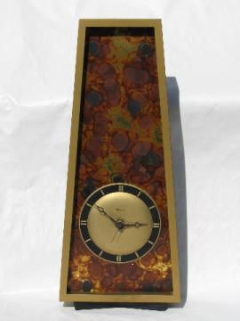 Retro mod vintage Sessions wall clock, imitation tortoise shell on gold