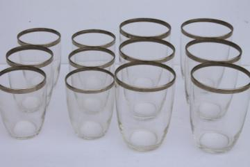 Retro mod vintage silver band cocktail glasses, rocks glasses & tumblers